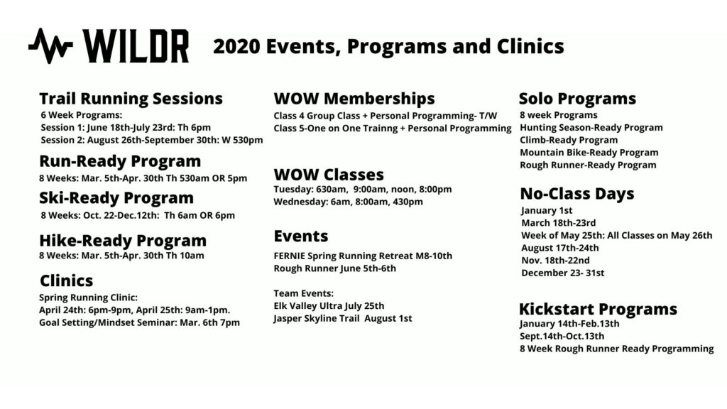 August 4 2020 Events.2020 Programs Events And Clinics Wildr Fitness